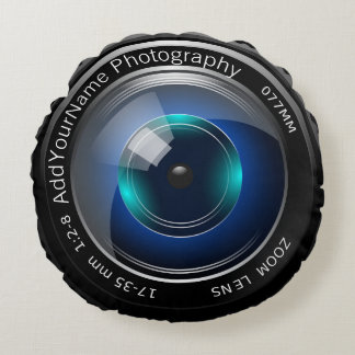 Camera Lens Make Your Own Custom Personalized Round Cushion