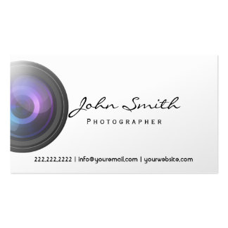 Camera Lens Photographer Pearl White Business Card