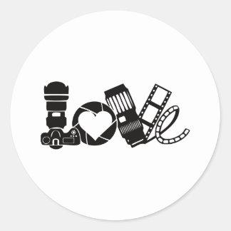 Camera Love Round Sticker
