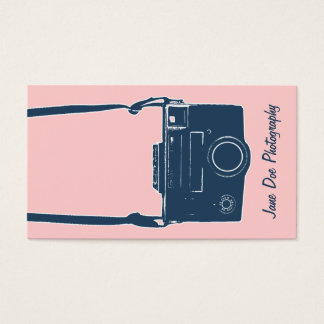 Camera Photography Girly Pink & Blue Antique Film Business Card