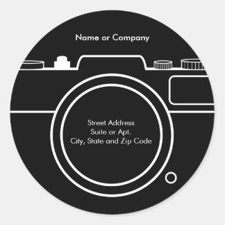 Camera Return Address Label - Black & White Round Sticker
