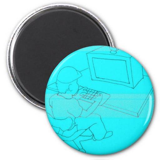 camera system nerd to computer fridge magnet
