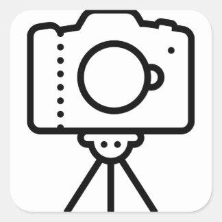 Camera Tripod Stand Square Sticker