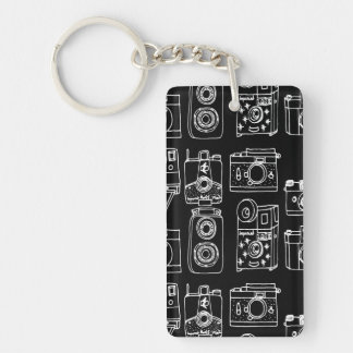 Camera - Vintage Cameras - B&W / Andrea Lauren Double-Sided Rectangular Acrylic Key Ring