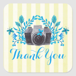 Camera With Blue Leaves And Butterflies Thank You Square Sticker