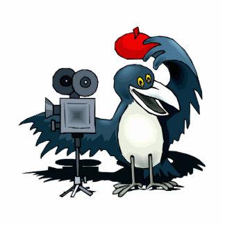 Cameraman Crow Standing Photo Sculpture