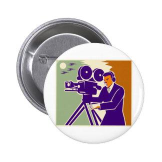 Cameraman Film Crew Vintage Video Movie Camera 6 Cm Round Badge