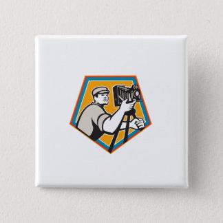 Cameraman Vintage Movie Film Camera Crest Retro 15 Cm Square Badge