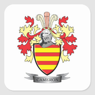 Cameron Family Crest Coat of Arms Square Sticker