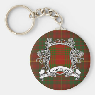 Cameron Tartan Shield Basic Round Button Key Ring