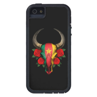 Cameroon Flag Bull Skull with Red Roses iPhone 5 Cover