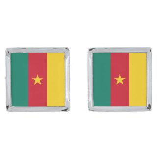 Cameroon Flag Silver Finish Cufflinks
