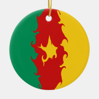 Cameroon Gnarly Flag Round Ceramic Decoration