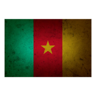Cameroon Grunge Flag Cameroonian Texture Poster