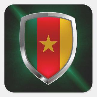 Cameroon Mettalic Emblem Square Sticker
