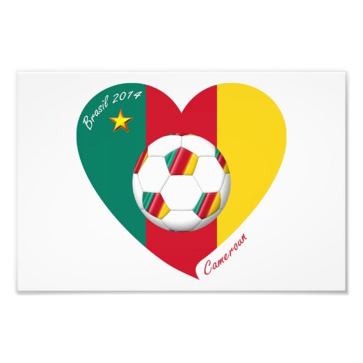 CAMEROUN SOCCER of national team 2014 and flag Photo