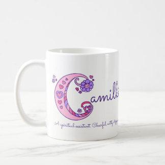 Camilla name meaning decorative C monogram mug