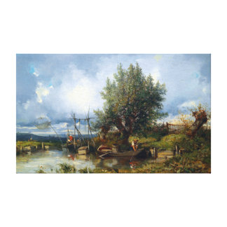 Camille Flers River Landscape with Fishermen Canvas Print
