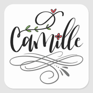 Camille, hand lettered square sticker