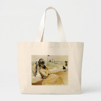 Camille on the Beach at Trouville Jumbo Tote Bag