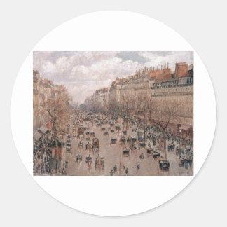 Camille Pissaro - Boulevard Monmartre Paris 1897 Classic Round Sticker