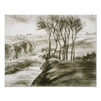 Camille Pissarro - Landscape Near Osny (State II) Photo Print