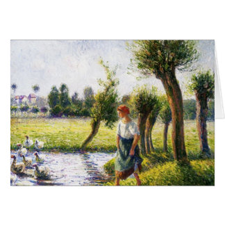 Camille Pissarro- Peasant Woman Watching the Geese Card