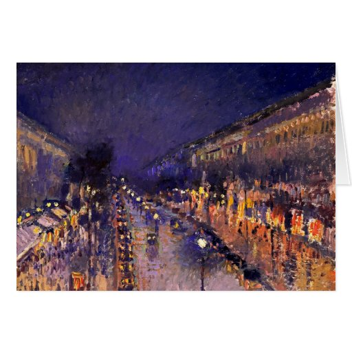 Camille Pissarro The Boulevard Montmartre At Night Greeting Card