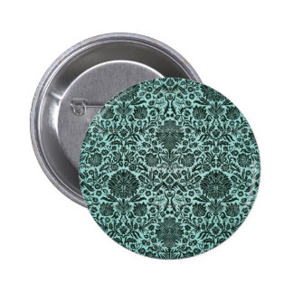 Camille Vintage Wall Paper Blue Pinback Buttons