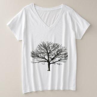 Camisa árvore seca plus size V-Neck T-Shirt