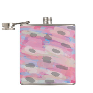 Camo Abstract Pink Pattern Hip Flask