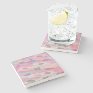 Camo Abstract Pink Pattern Stone Coaster