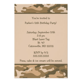Camo Army Brown Birthday party invitation