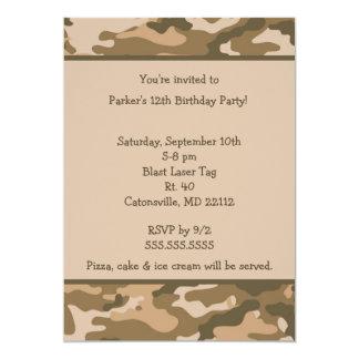 "Camo Army Brown Birthday party invitation 5"" X 7"" Invitation Card"