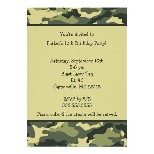 Camo Army Green Birthday party invitation
