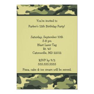 """Camo Army Green Birthday party invitation 5"""" X 7"""" Invitation Card"""