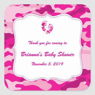Camo Baby Shower Favor Label Hot Pink Square Sticker