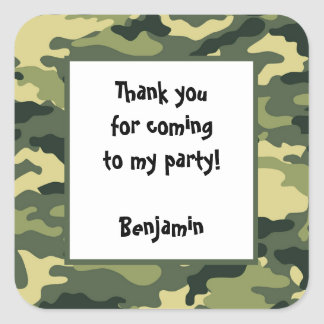 Camo Birthday Party Favor Sticker green