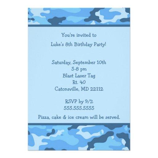 Camo Blue Birthday party invitation