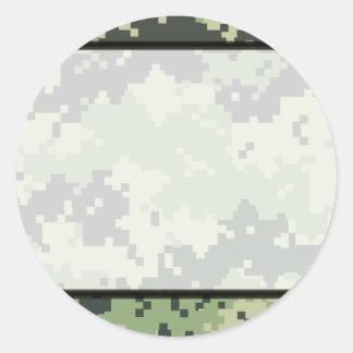 Camo Border Classic Round Sticker