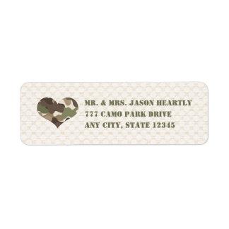 Camo Camouflage Heart Return Address Labels