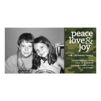 Camo Christmas Photo Card - Peace Love Joy