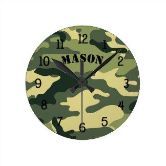 Camo Clock with name,  boy bedroom nursery CAMO