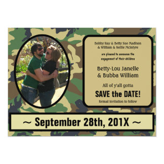 "Camo Engagement Announcement Save the Date Invite 5.5"" X 7.5"" Invitation Card"