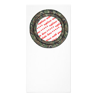 Camo Forest / Woodland Circle Photo Frame Template Photo Greeting Card