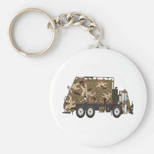 Camo Garbage Truck Military Key Chains