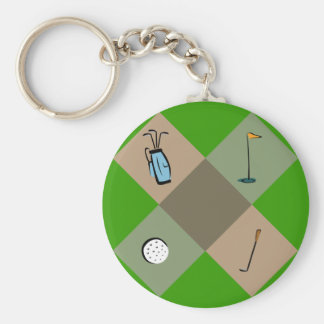 camo-golf days basic round button key ring