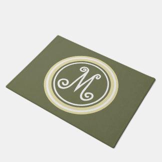 Camo Green and Cream Monogram Doormat