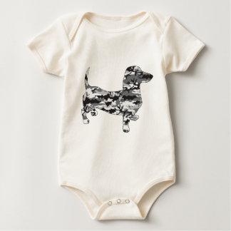 Camo-Grey-Doxie Baby Bodysuit