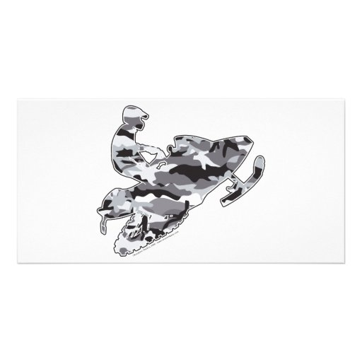 Camo Grey Sled on Black copy Customized Photo Card
